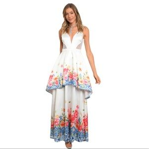 SOIEBLU FLORAL MAXI DRESS/GOWN Size Large